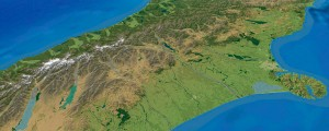 Geographx basemap - oblique view of the central South Island